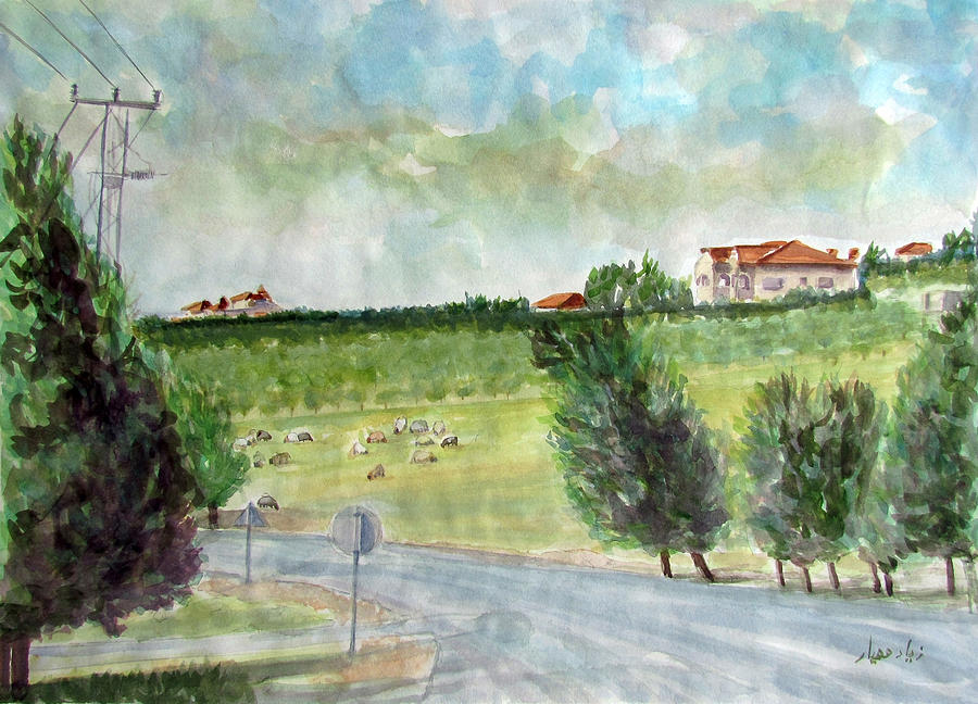 Landscape Painting - Around The Suburb Of Madaba by Ziyad Mihyar