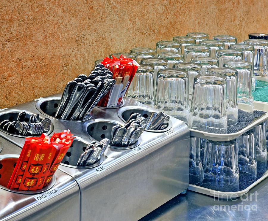 Arrangement Photograph - Arranged Glasses And Silverware by David Buffington