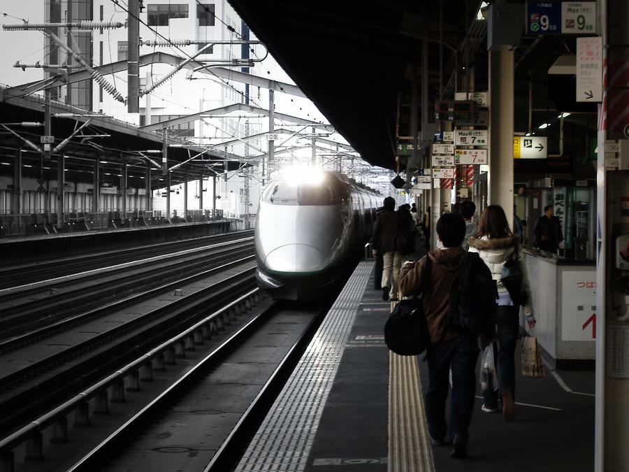 Japan Photograph - Arriving Train by Naxart Studio