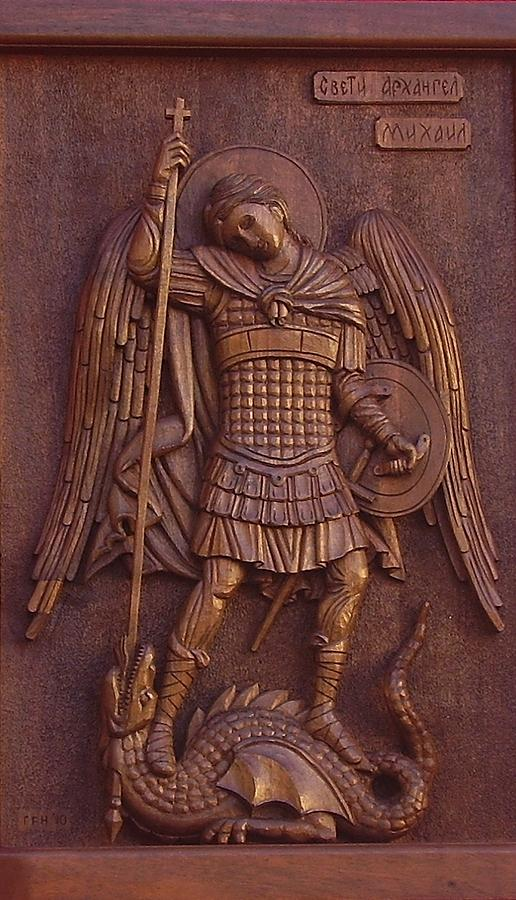 Panel Sculpture - Art Icon Of St. Archangel Michael by Goran