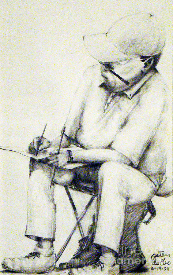 Artist Drawing - Artist At Work Philadelphia Sketch Club by Peter Anthony DeFeo