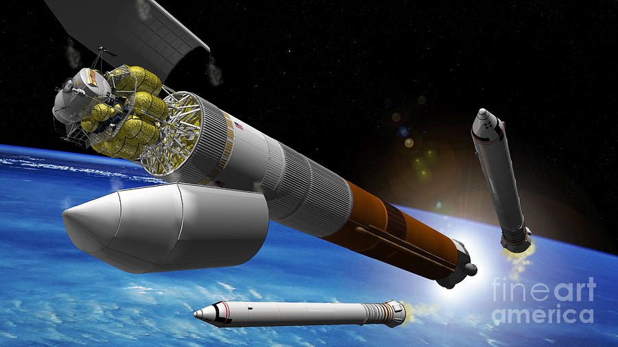 Color Image Digital Art - Artist Rendition Of A Heavy-lift Rocket by Stocktrek Images