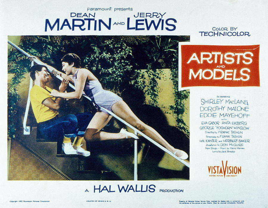 1955 Movies Photograph - Artists And Models, Jerry Lewis by Everett