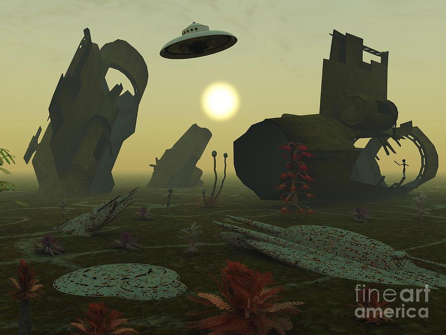 Imagination Digital Art - Artists Concept Of An Alien Scrap Yard by Mark Stevenson
