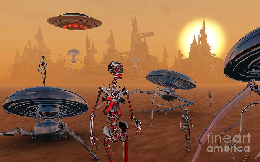 Concept Digital Art - Artists Concept Of Life On Mars Long by Mark Stevenson