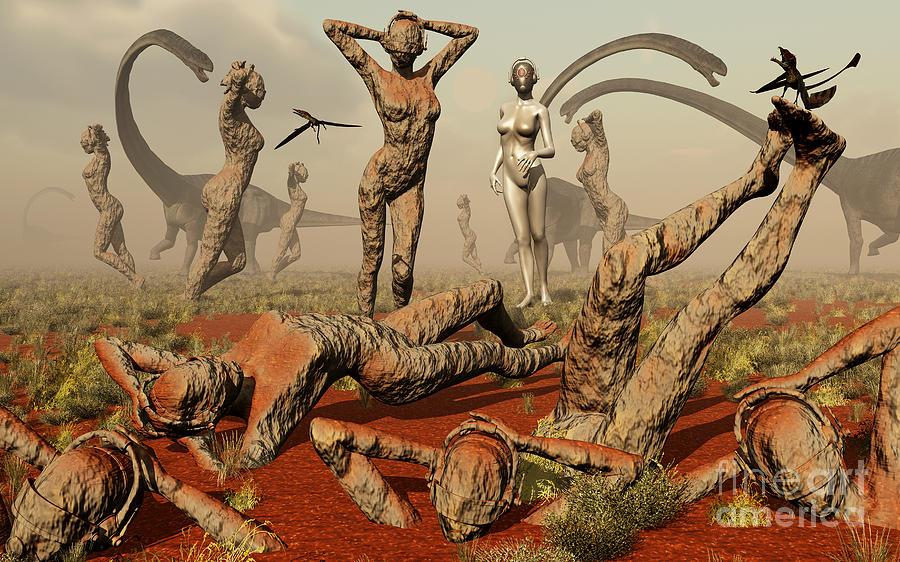 Illustration Digital Art - Artists Concept Of Mutated Dinosaurs by Mark Stevenson
