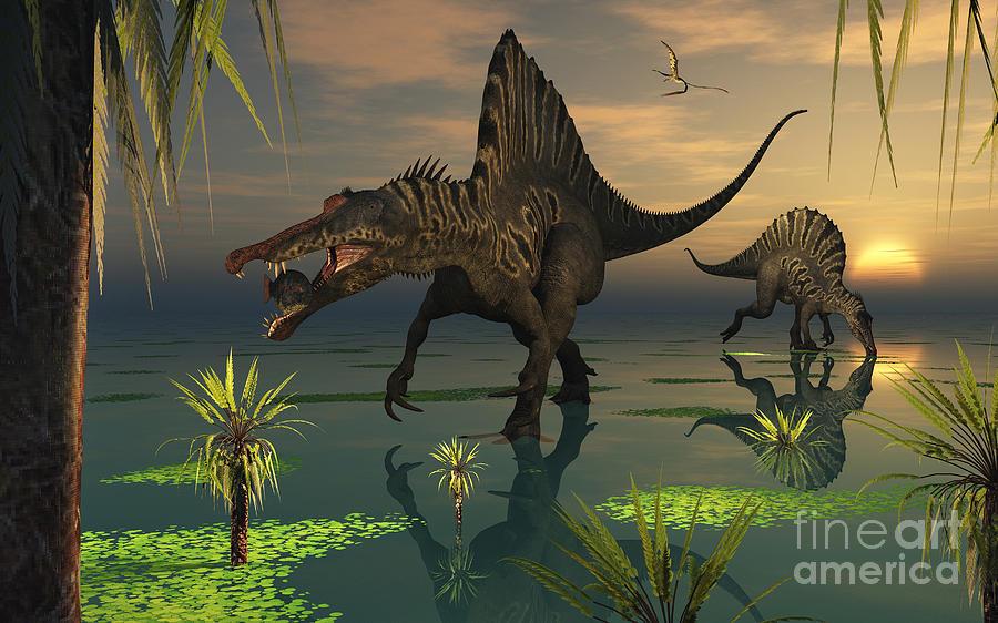 Digitally Generated Image Digital Art - Artists Concept Of Spinosaurus by Mark Stevenson