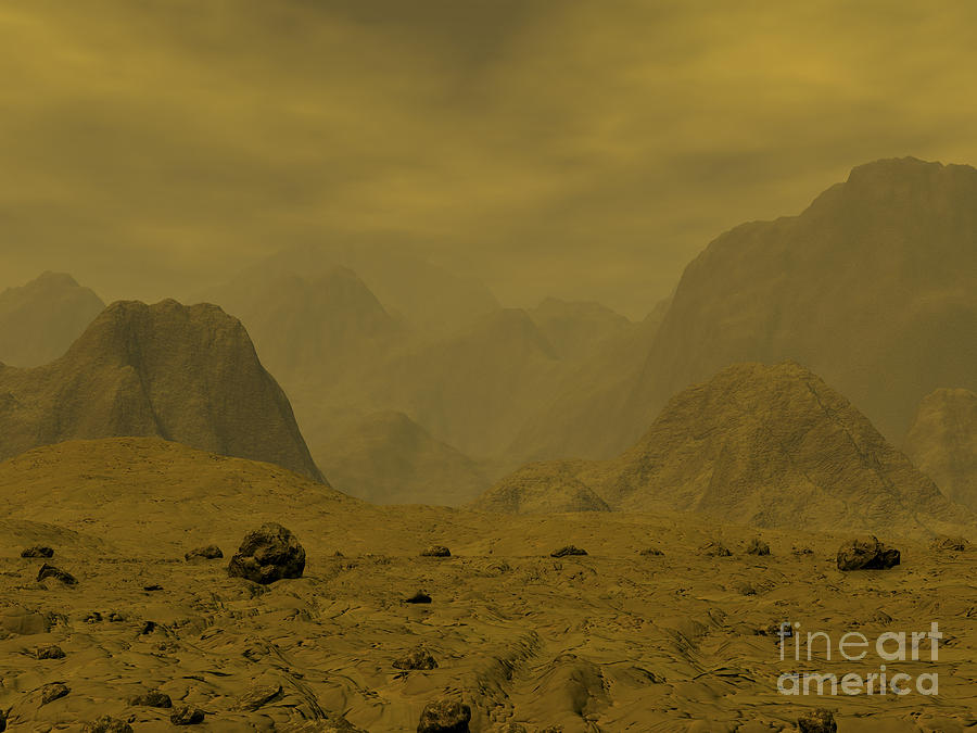Astronomy Digital Art - Artists Concept Of The Surface Of Venus by Walter Myers
