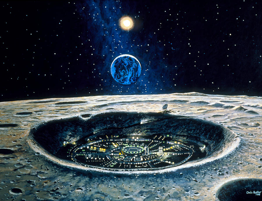 City Photograph - Artwork Of A City In A Crater On The Moon by Chris Butler