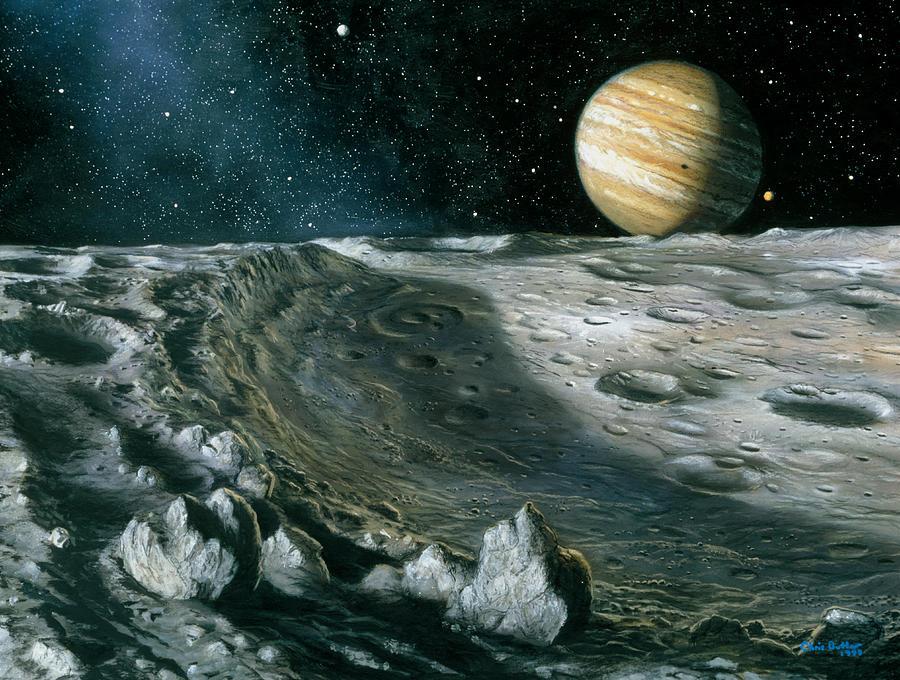 Artwork Of Jupiter Rising Above Ganymede's Surface ...