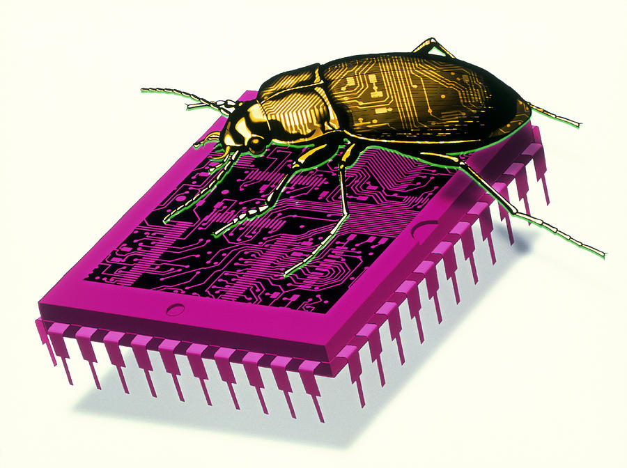 Microchip Photograph - Artwork Of Millennium Bug With Beetle On Microchip by Victor Habbick Visions