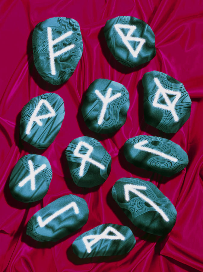Rune Stones Photograph - Artwork Of Rune Stones Used For Fortune Telling by Victor Habbick Visions
