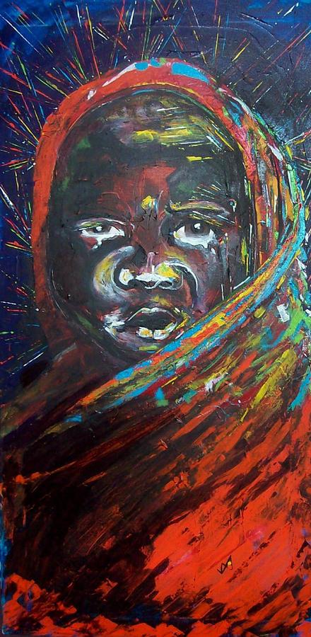 Darfur Painting - As Tears Run Dry by Valerie Wolf
