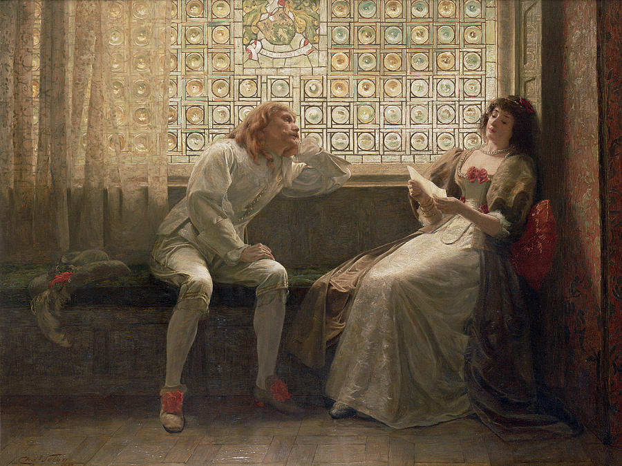 Male; Female; Lovers; Love Letter; Interior; Window Seat; Stained Glass; Lovestruck; Romantic Comedy; Curtain; Shoes; Costume; Corsage; Wistful Painting - as You Like It by Charles C Seton
