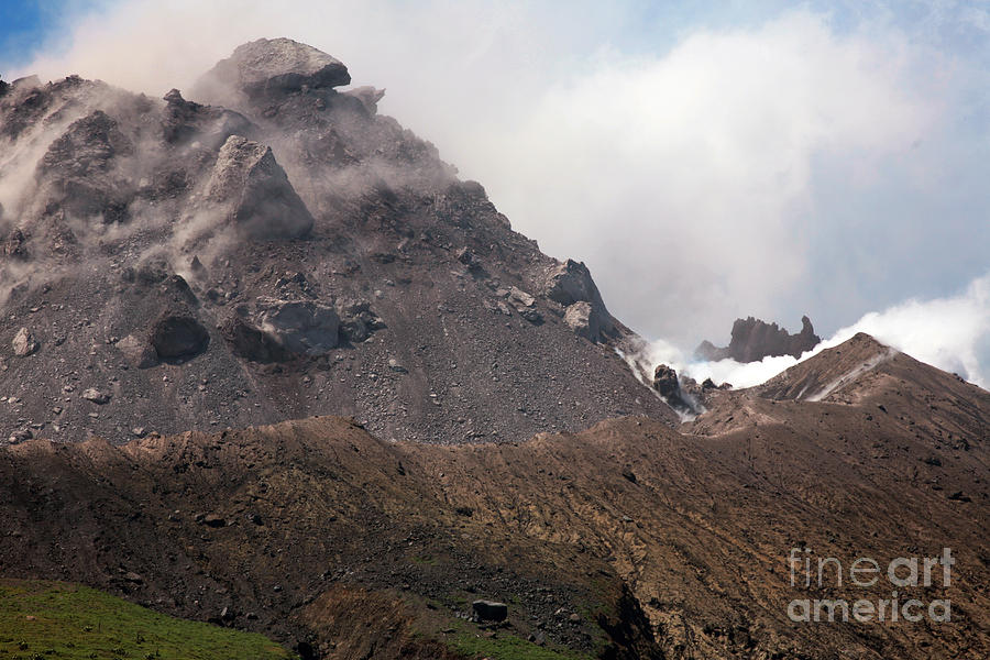 Active Volcano Photograph - Ash And Gas Rising From Lava Dome by Richard Roscoe