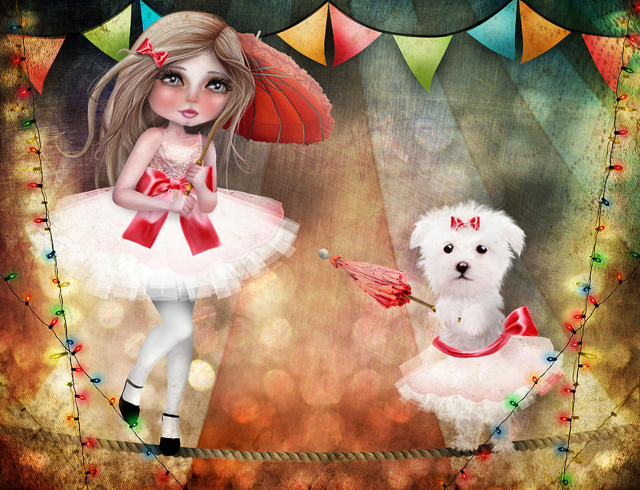 Circus Digital Art - Asia And Snow At The Circus by Jessica Von Braun