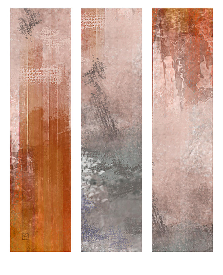 Abstract Painting - Asian Triptych by Jean Moore