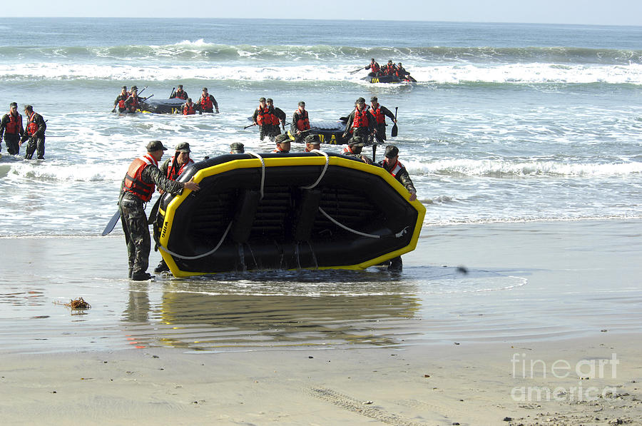 Rubber Boats Photograph - Asic Underwater Demolitionseal Students by Stocktrek Images
