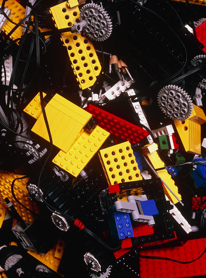 Brick Photograph - Assorted Lego Bricks And Cogs. by Volker Steger