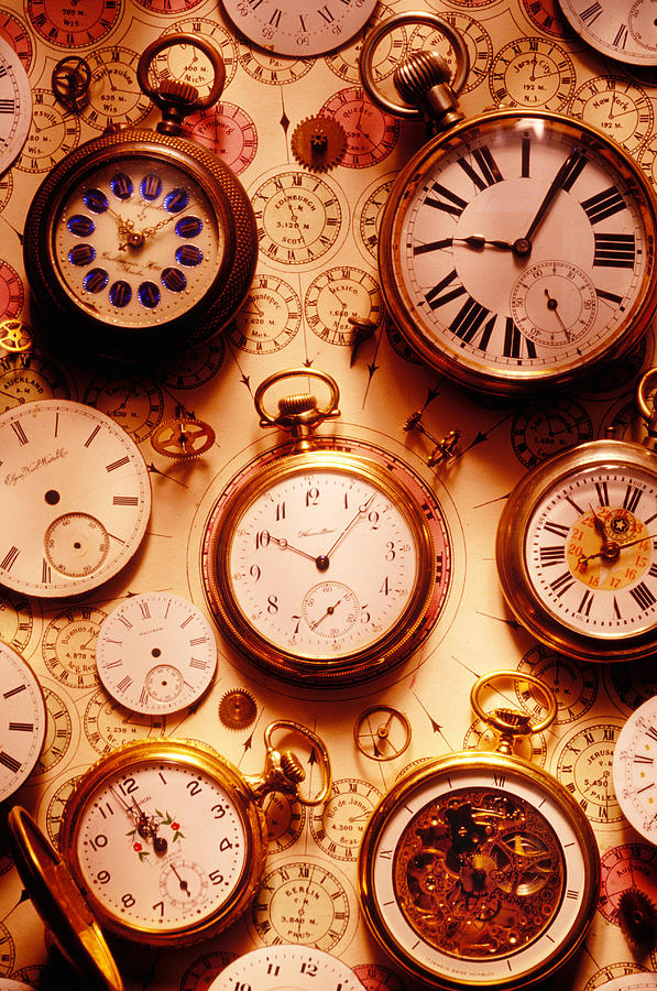 Time Photograph - Assorted Watches On Time Chart by Garry Gay