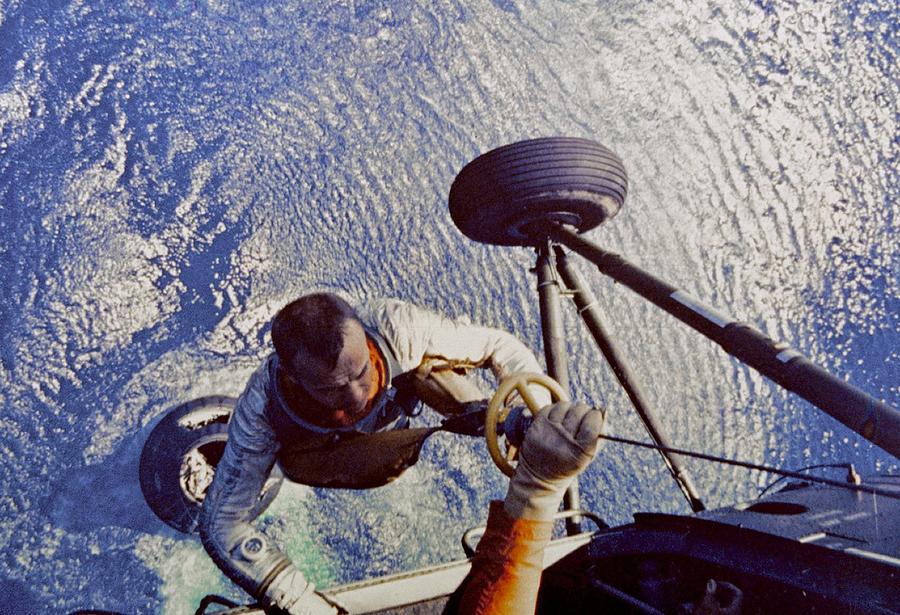 History Photograph - Astronaut Alan B. Shepard Is Hoisted by Everett