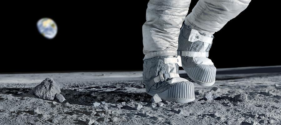 Human Photograph - Astronaut Walking On The Moon by Detlev Van Ravenswaay