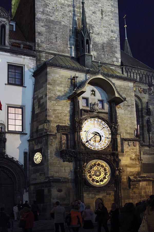 Old Town Hall Clock Tower Photograph - Astronomical Clock At Night by Sally Weigand