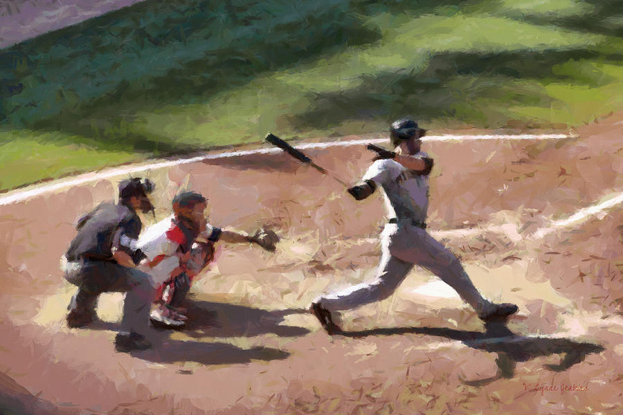 Baseball Painting - At Bat by Lynne Jenkins