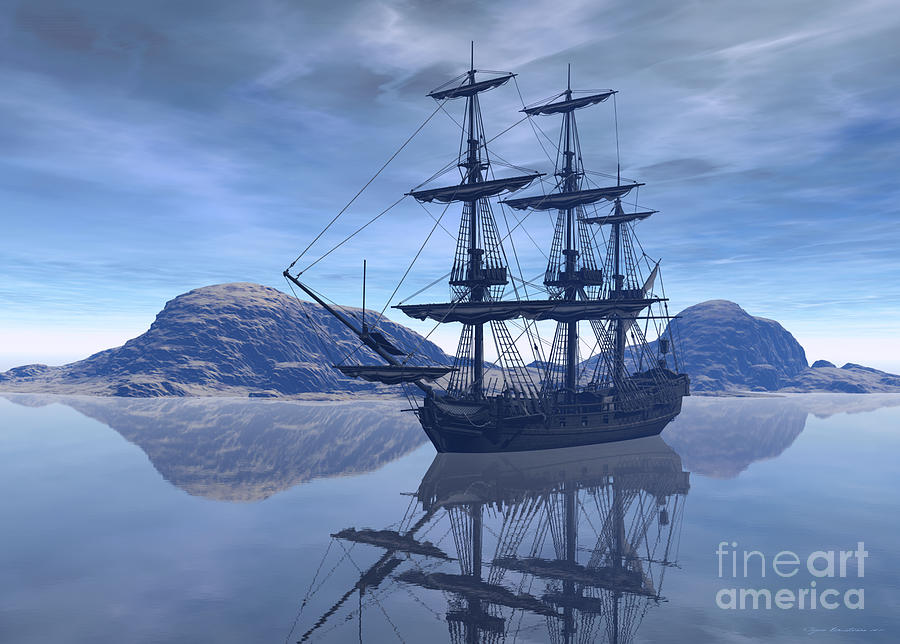 Ship Digital Art - At Destination by Sipo Liimatainen
