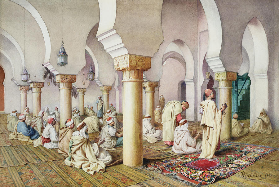Frederico Painting - At Prayer In The Mosque by Filipo Bartolini or Frederico