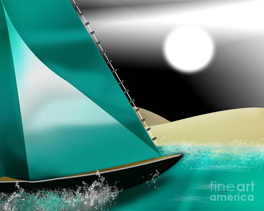 Sail Digital Art - At Sea by Linda Seacord