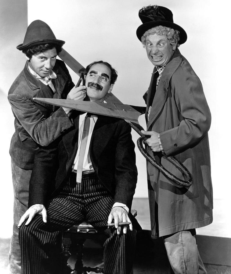 1930s Movies Photograph - At The Circus, From Left Chico Marx by Everett
