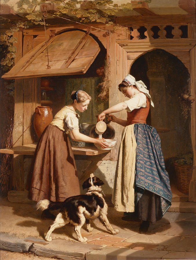 Theodore Painting - At The Dairy by Theodore Gerard