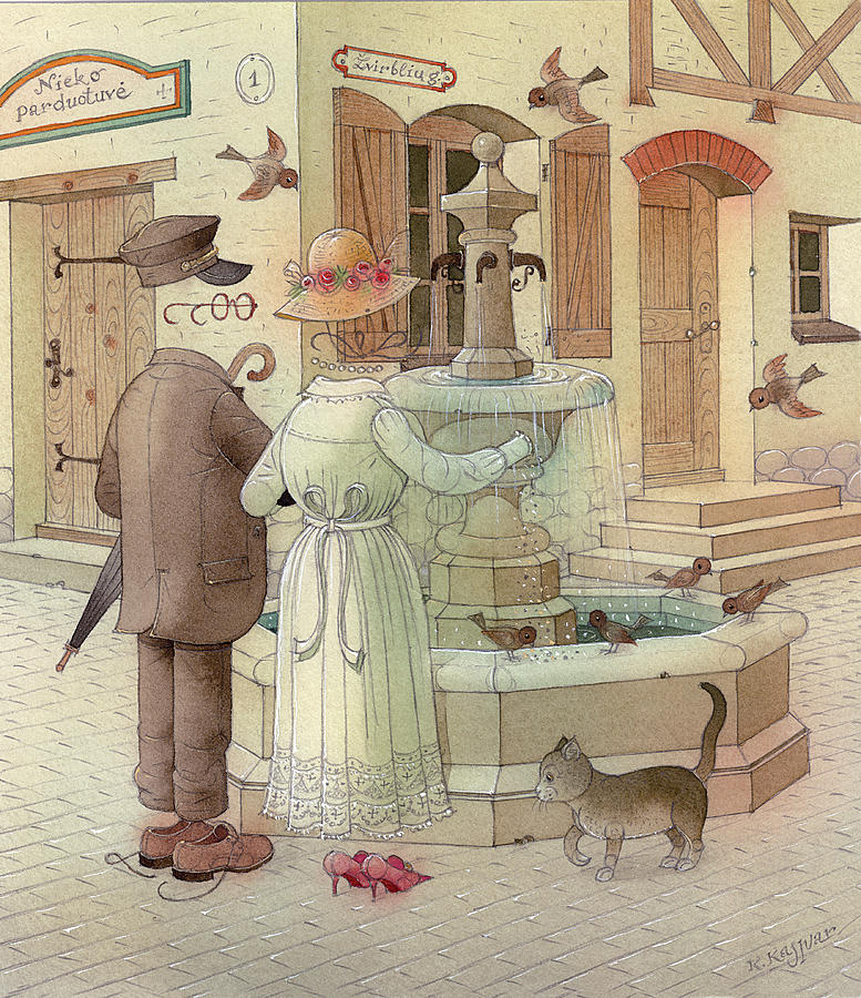 At The Fountain Painting by Kestutis Kasparavicius