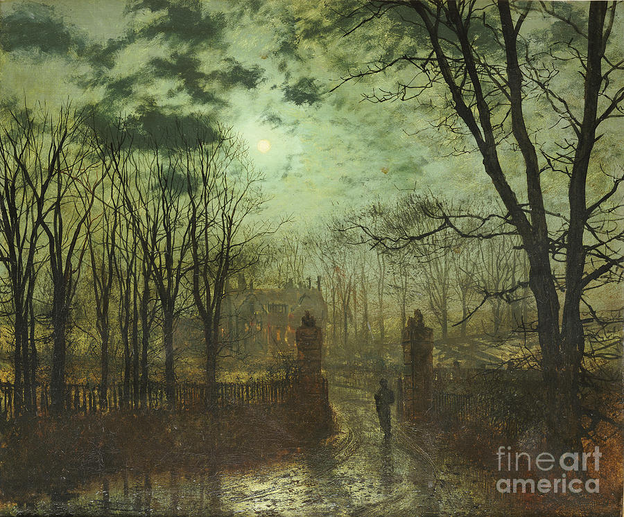 Landscape Painting - At The Park Gate by John Atkinson Grimshaw