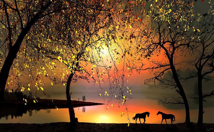Water Digital Art - At The Sunset by Igor Zenin