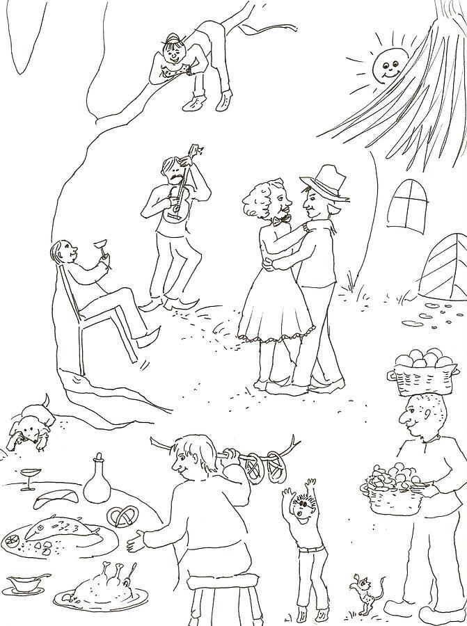 Wedding Drawing - At The Wedding by Vass Eva Rozsa