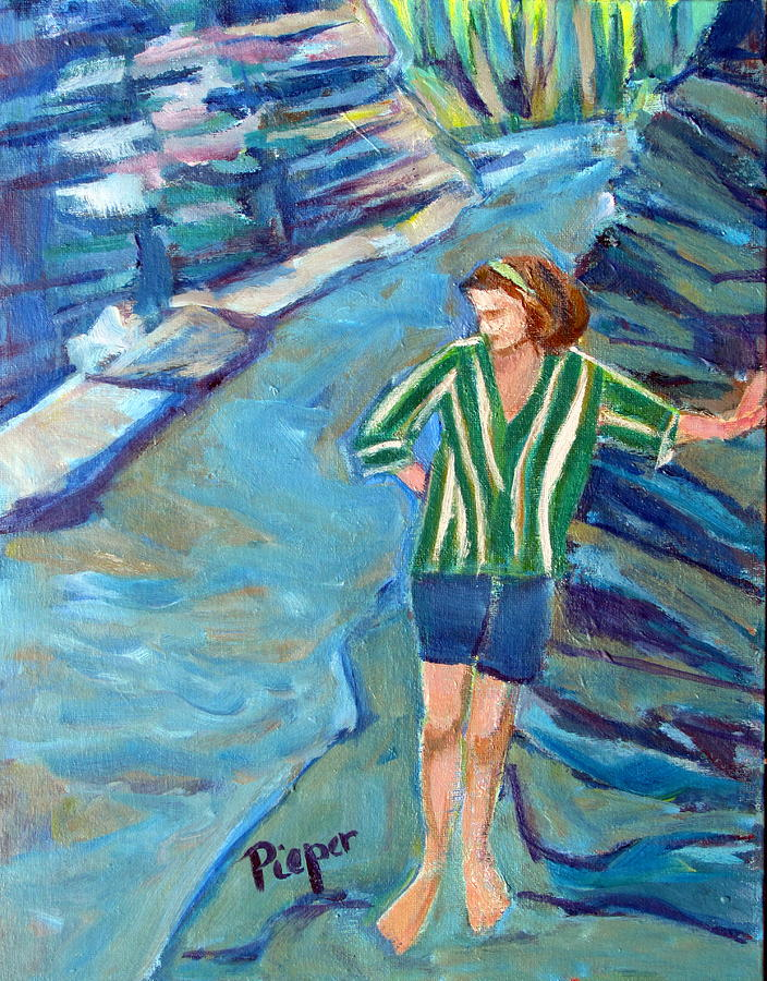 Contemplation At Winter Green Park Painting - At Wintergreen Park Canajoharie by Betty Pieper