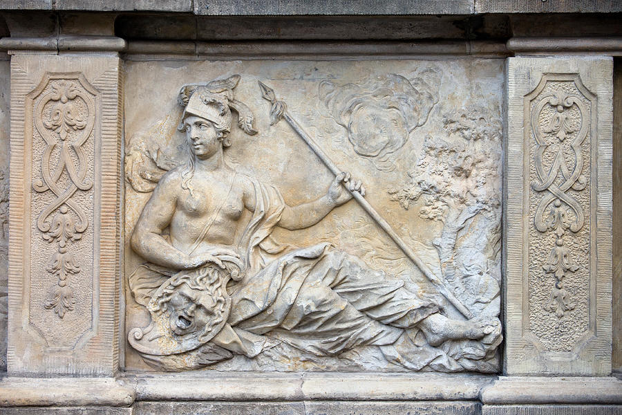 Relief Photograph - Athena Relief In Gdansk by Artur Bogacki