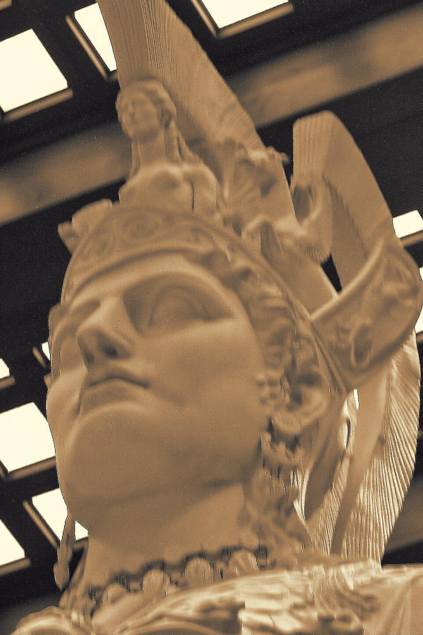 Ancient Photograph - Athena Sculpture Sepia by Linda Phelps
