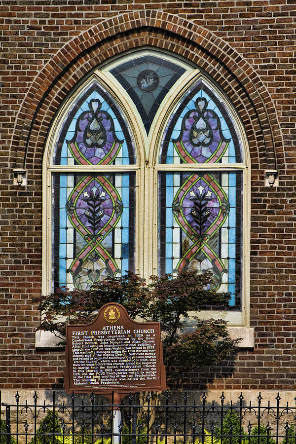 First Photograph - Athens Alabama First Presbyterian Church Stained Glass Window by Kathy Clark