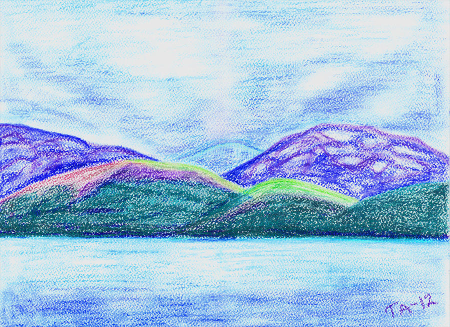 Landscape Painting Pastel - Atlantic Mountains by Taruna Rettinger