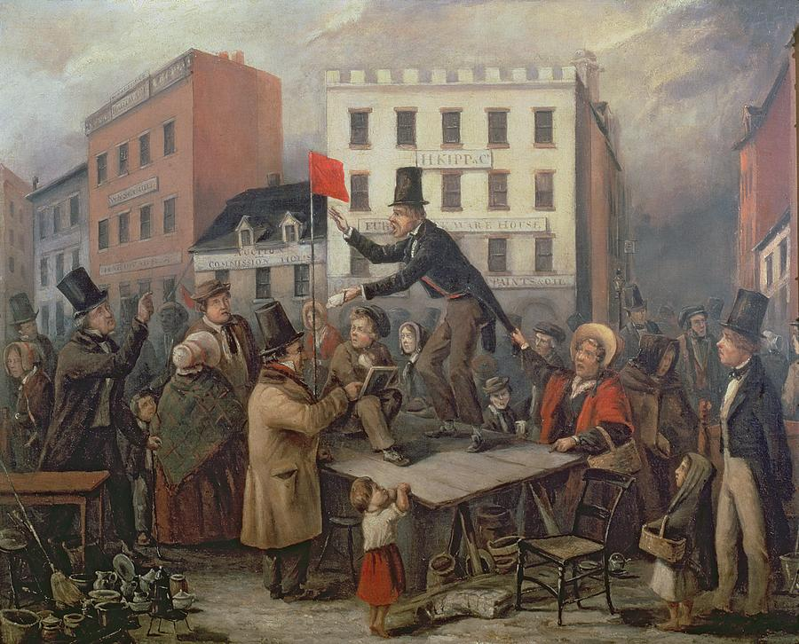Auction In Chatam Street Painting - Auction In Chatam Street by E Didier