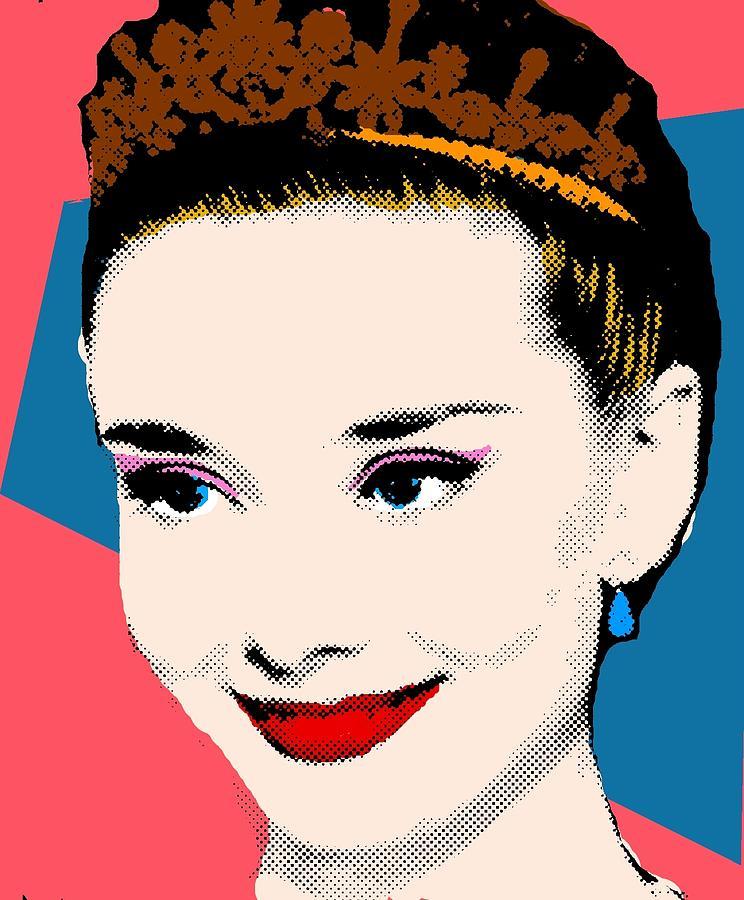 Audrey Hepburn Pop Art Coral Blue Painting by Bao Studio