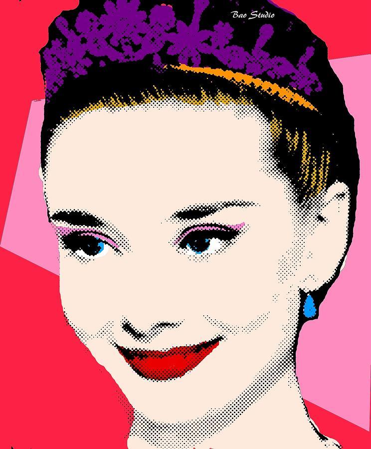 Audrey Hepburn Pop Art Red Pink Painting by Bao Studio