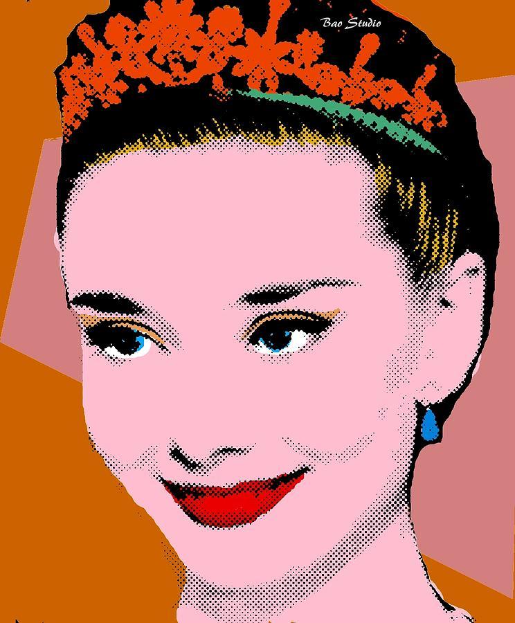 Roy Lichtenstein Painting - Audrey Hepburn Pop Art Tan Clay by Bao Studio 5e362756d1d6e