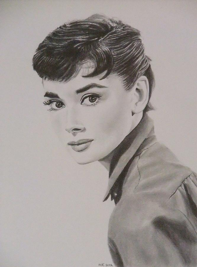 Famous Drawing - Audrey by Mike OConnell