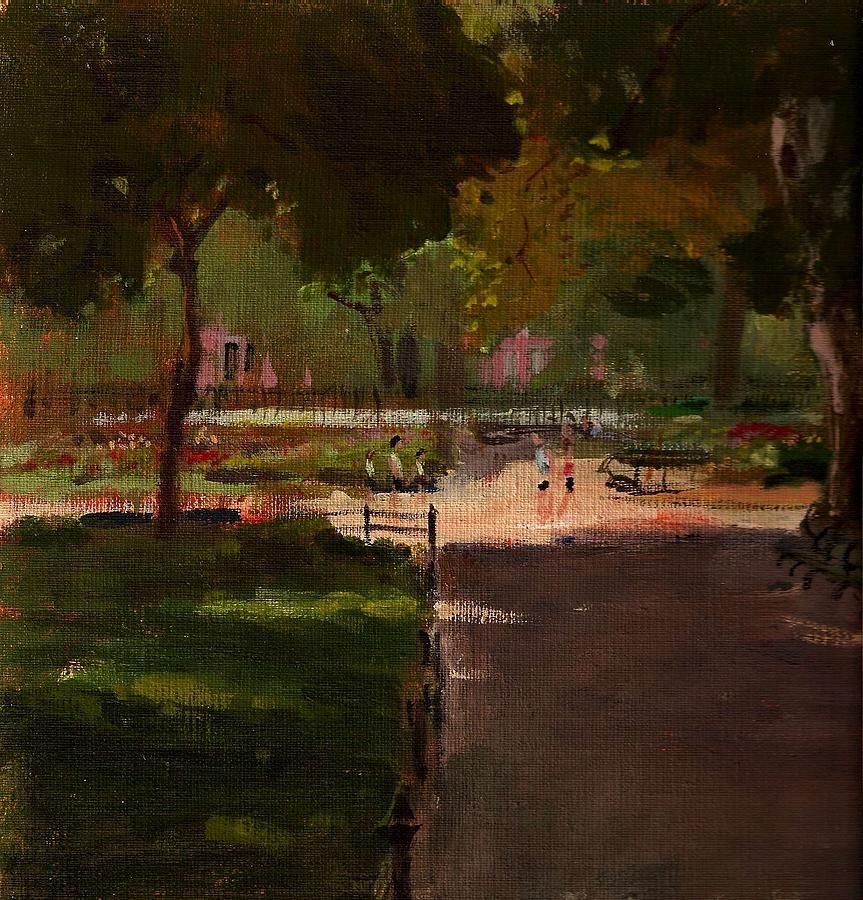 Landscape Painting - August In Stuyvesant Square by Peter Salwen