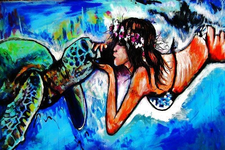 Sea Turtle Painting - Aumakua by Kimberly Dawn Clayton