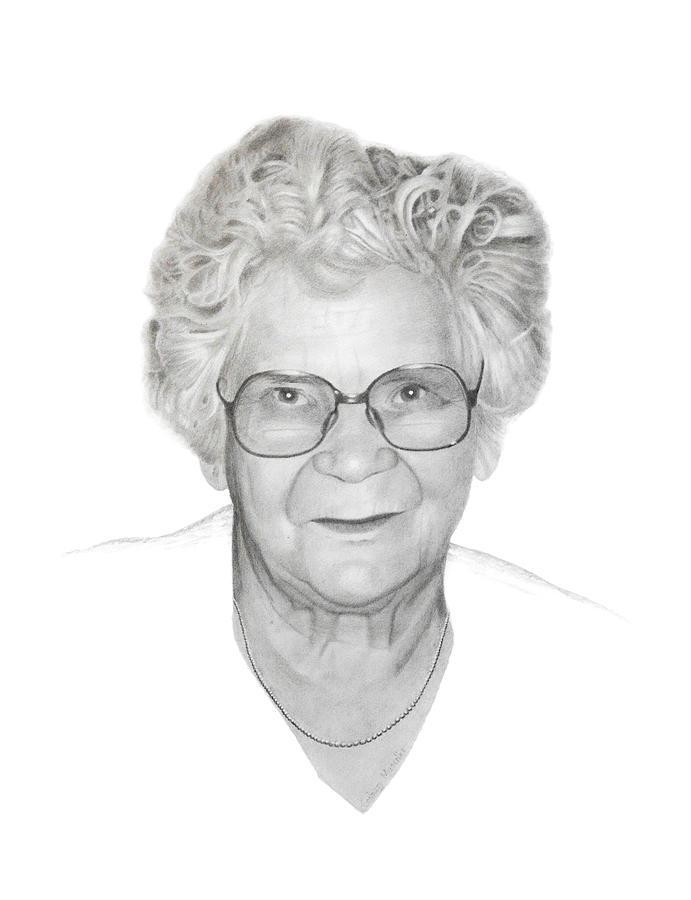 Portrait Drawing - Aunt Flora by Conrad Mieschke
